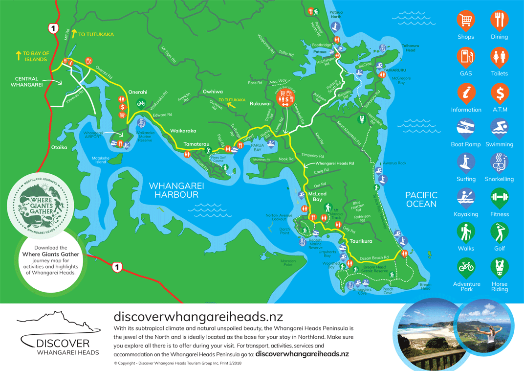 Discover Whangarei Heads Activities, Services and Road Map